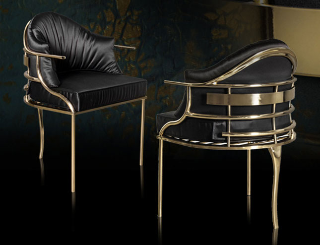 Janet Morais KOKET Love Happens Luxury Furniture Interview with Furniture Accessories USA Magazine Fall 2017 - Asia Chair - Gold metal accent chairs - gold metal dining chairs - curved chairs - art deco chairs - gold and black accent chairs janet morais An Interview with Janet Morais, the Creative Force Behind KOKET asia chair
