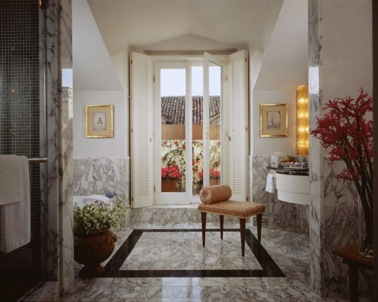 Top Interior Designers in San Francisco - Pamela Babey - BAMO - Four Seasons Milan Guest Bath - Luxury bathrooms - Marble bathrooms - Fortuny fabrics top interior designers Top Interior Designers: Pamela Babey of BAMO thumbs Four Seasons Milan Guest Bath