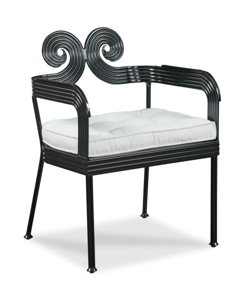 Century Furniture Augustine Scrolled Garden Chair In Thomas O'Brien Outdoor for Century - Fall 2017 High Point Market Style Spotters Woodson & Rummerfield's House of Design, Ron Woodson and Jaime Rummerfield - Black open accent chair - Swirling accent chair