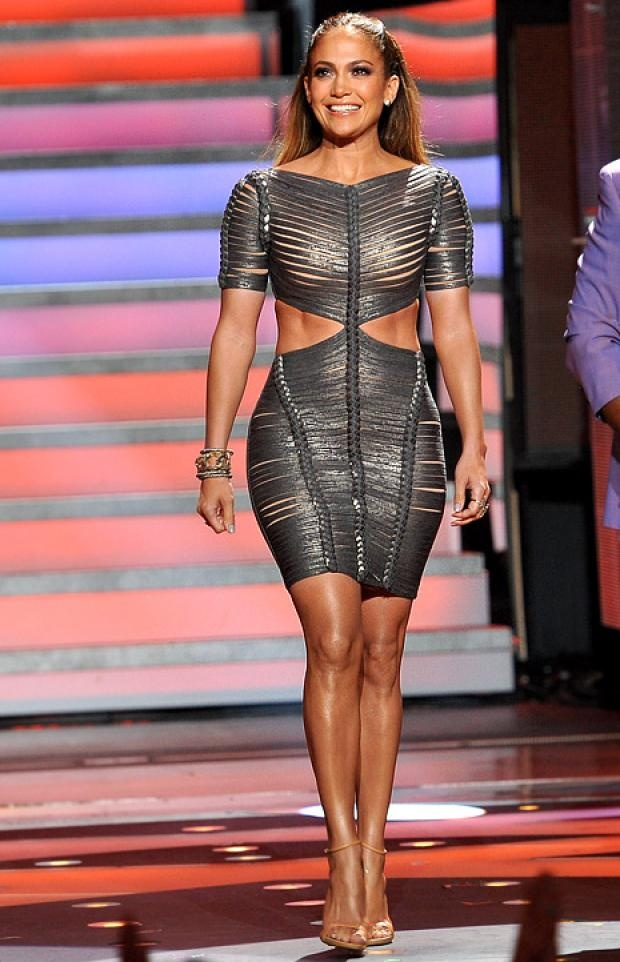 Jennifer Lopez Hervé Léger 2012 Cutout braided Metallic Dress. Jennifer loves bandage dresses - iconic dresses