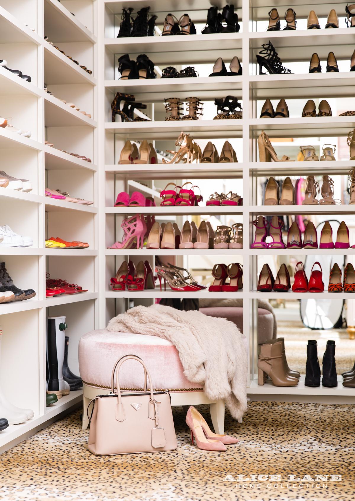 Jessica Bennett and the Alice Lane Home Design Team Pink Peonies Shoe Closet - leopard carpet