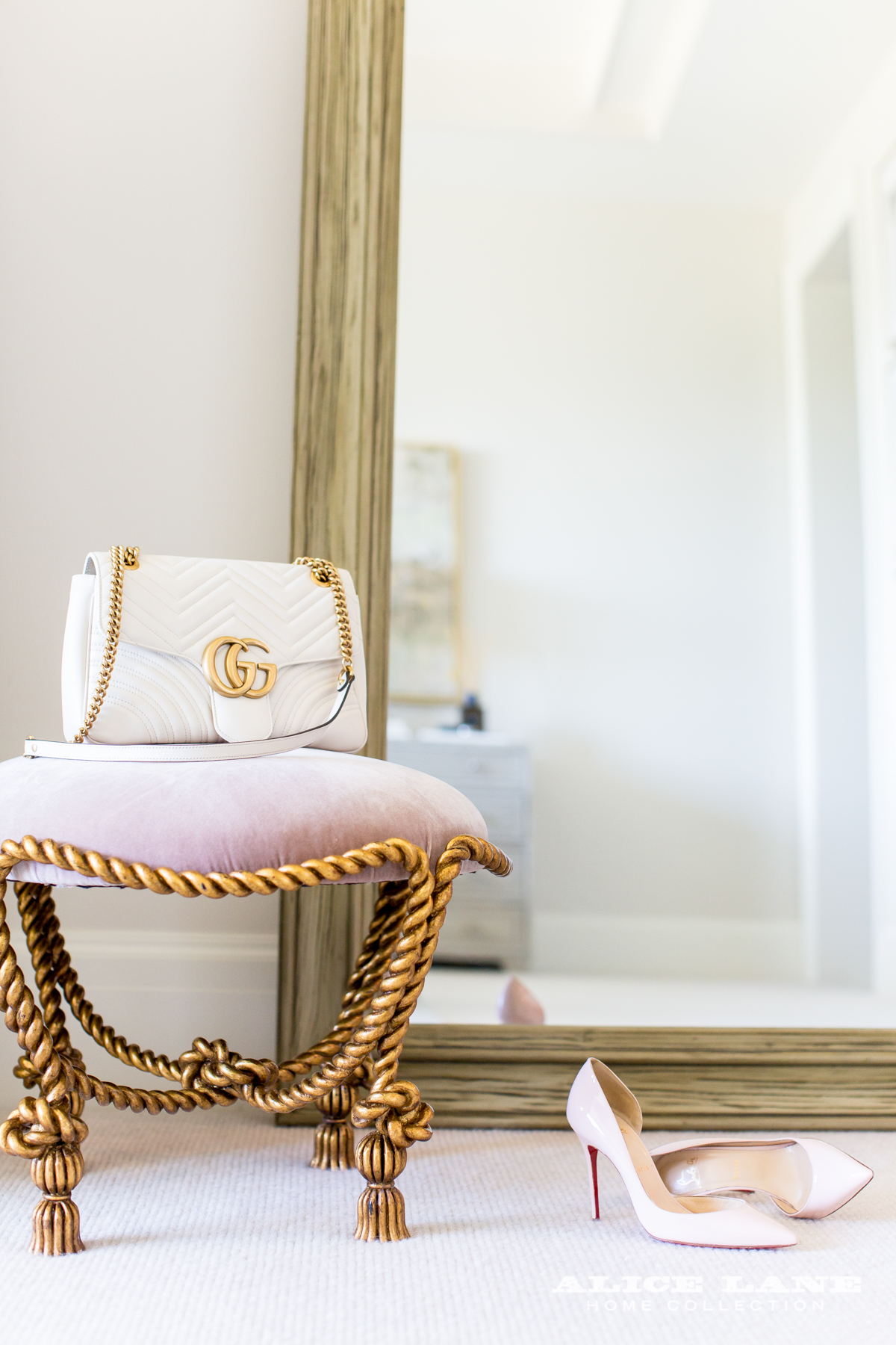 Jessica Bennett and the Alice Lane Home Design Team Suite Escape - stool color bedroom stool - chanel cream and gold purse - gold rope stool - luxury furniture