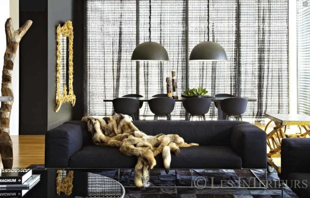 Design by Les Interieurs Pamela Makin - PPG Porter Paints Color of the Year 2018 - Black Flame PPG1043-7 - luxury furniture - charcoal and gold living rooms - black and gold living rooms - fur throws