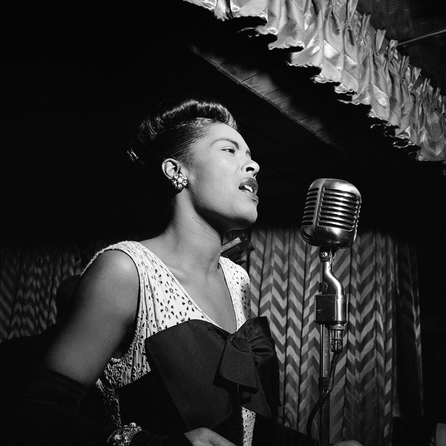 Famous Women in History - Billie Holiday Downbeat New York NY ca. Feb. 1947 - Photo by William P. Gottlieb - important women in nyc history - most influential jazz musician famous women in history Things To Do in NYC: Finding New York City's Famous Women in History Billie Holiday Downbeat New York N