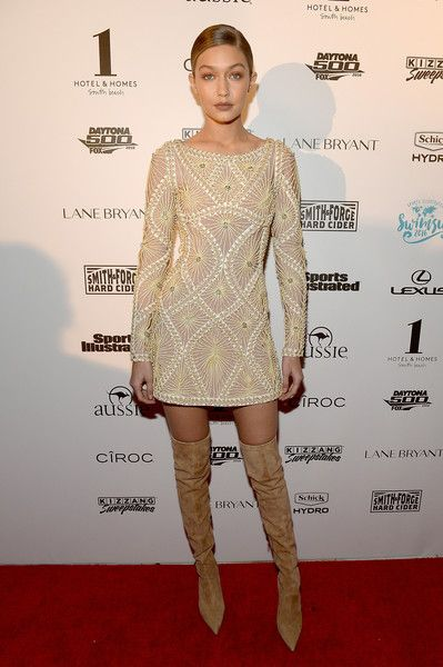 iconic images of Herve Leger - Gigi Hadid - cream dresses