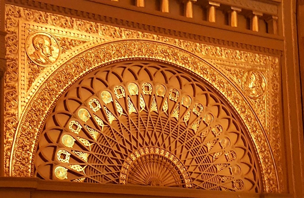 Layered gold filigree detail work inside the historic Auditorium Theatre Chicago, IL. Photography by Deborah Main. - sexy chair