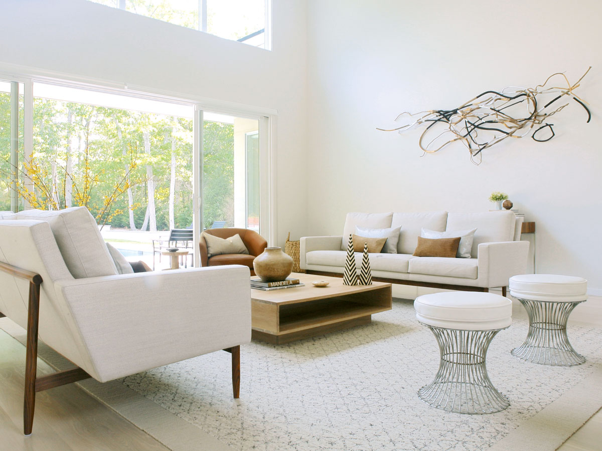 Interior Design by Ishka Designs - Living room designs - White living rooms - High Point Market 2017 Style Spotters - Furniture trends 2017 - stools with metal base - modern living rooms