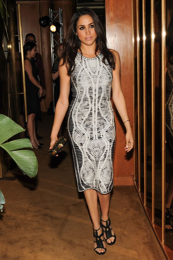Meghan Markle wears the Herve Leger Elizabeth dress - iconic images of Herve Leger