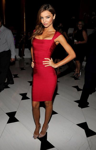iconic images of Herve Leger - Miranda Kerr - red bandage dress
