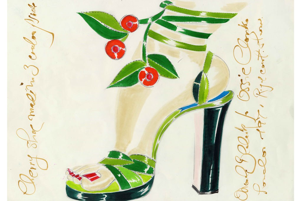 Inside the Manolo Blahnik Documentary - Manolo Blahnik's sketch of a 1971 design for Ossie Clark - top shoe designers - luxury shoes - designer shoes