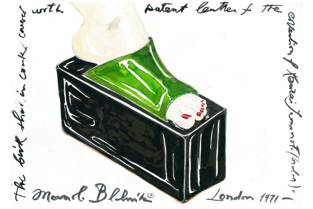 Inside the Manolo Blahnik Documentary - Manolo Blahnick's sketch of his first shoes for Kansai Yamamoto, 1971