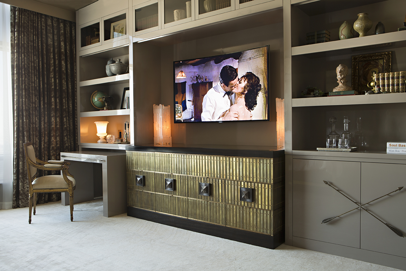 Interior design by Woodson and Rummerfields House of Design - Luxury wall unit designs - Living room designs - High Point Market 2017 Style Spotters - Furniture trends 2017