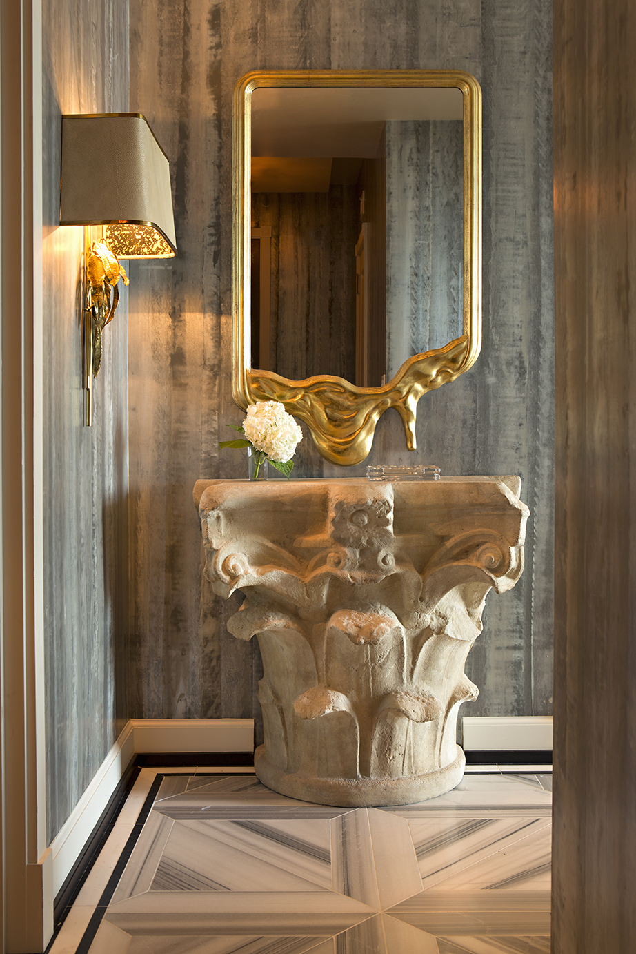 Interior design by Woodson and Rummerfields House of Design - Photography: Karyn Millet - High Point Market 2017 Style Spotters - Furniture trends 2017 - Luxury powder room designs - decorative gold mirrors - glamorous gold sconces