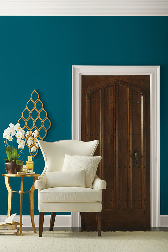 Sherwin Williams Color of the Year 2018 Oceanside SW 6496 172-C7 - Whites Sitting Area - House Beautiful - chocolate and teal rooms - teal and gold