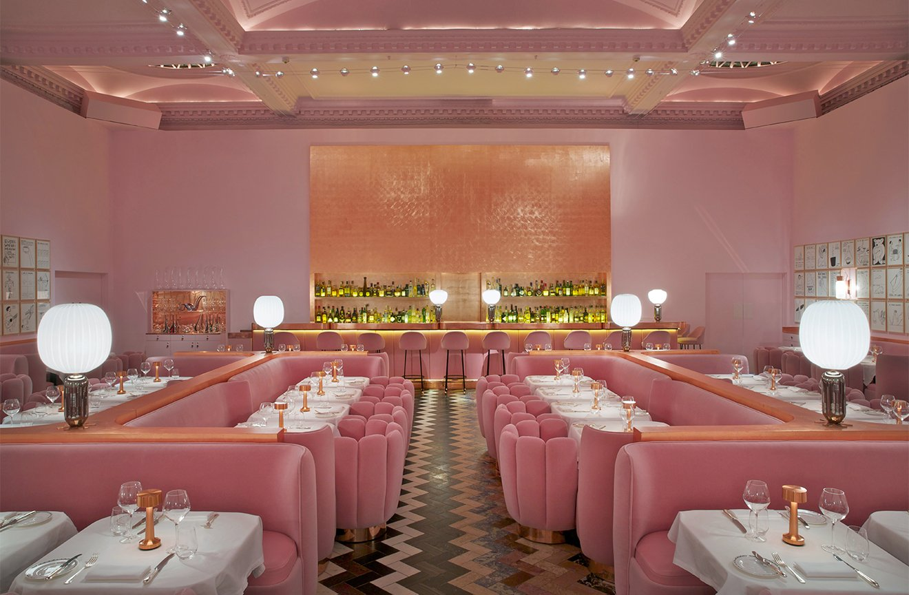 Pink rooms - In Honor of Breast Cancer Awareness Month - Sketch Pink Restaurant London - Pink and gold interiors - feminine restaurant designs - interior design by india mahdavi