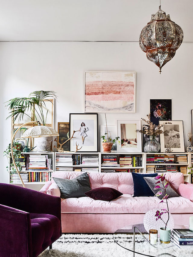 Pink Interiors - In Honor of Breast Cancer Awareness Month - Home of interior designer Amelia Widell , Styling by Sasa Antiuc, Photography by Andrea Papini - Pink living rooms - pink sofas