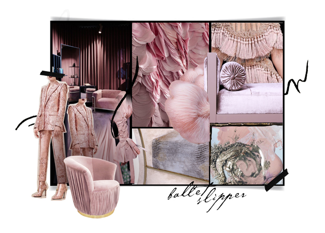 Pink Interiors - In Honor of Breast Cancer Awareness Month - Ballet Slipper Moodboard by KOKET - Pink mood boards - Pink inspirations - pink room ideas - Countess chair by KOKET - ruched lounge chair - koket color trends