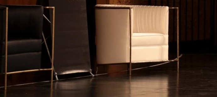 KOKET Desire Chairs - One Sexy Chair on Stage at BOLD Summit 2017 by Deborah Main, The Pillow Goddess - Black and gold metal chairs - Luxury upholstered chairs - Glamorous chairs - Historic Auditorium Theatre Chicago, IL - KOKET Desire Chair Cream and Gold metal