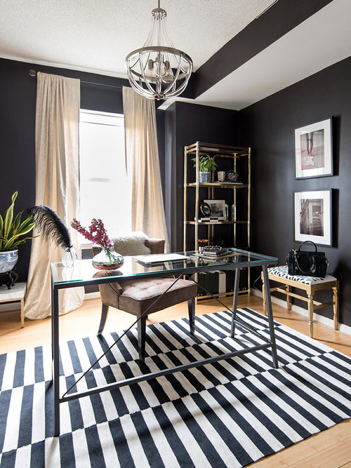 home office black walls modern glam splendor styling mariella cruzado black and white