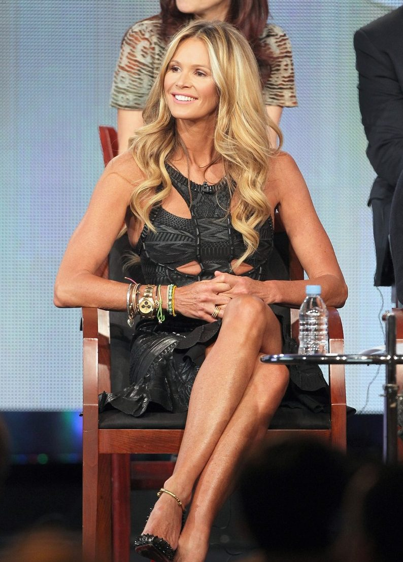 "Elle Macpherson in Hervé Léger onstage during the ""Fashion Star"" panel in 2012"