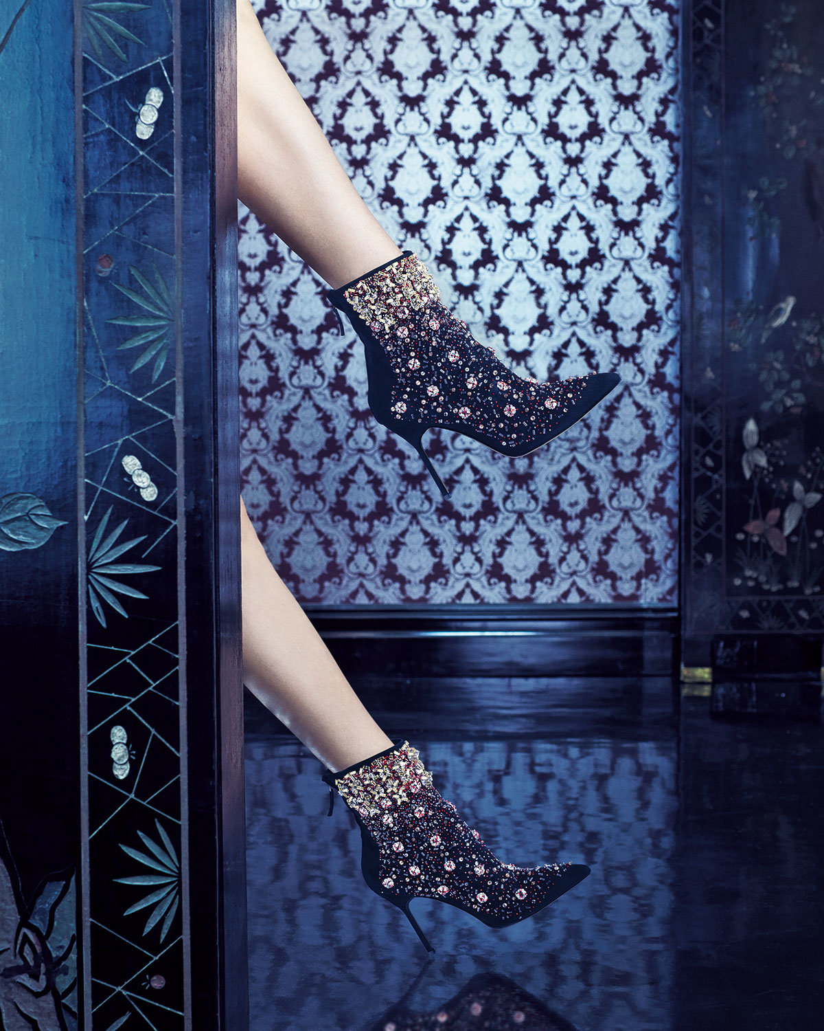 Inside the Manolo Blahnik Documentary - Black zarina embroidered suede boot - Manolo - Luxury shoes - Designer shoes