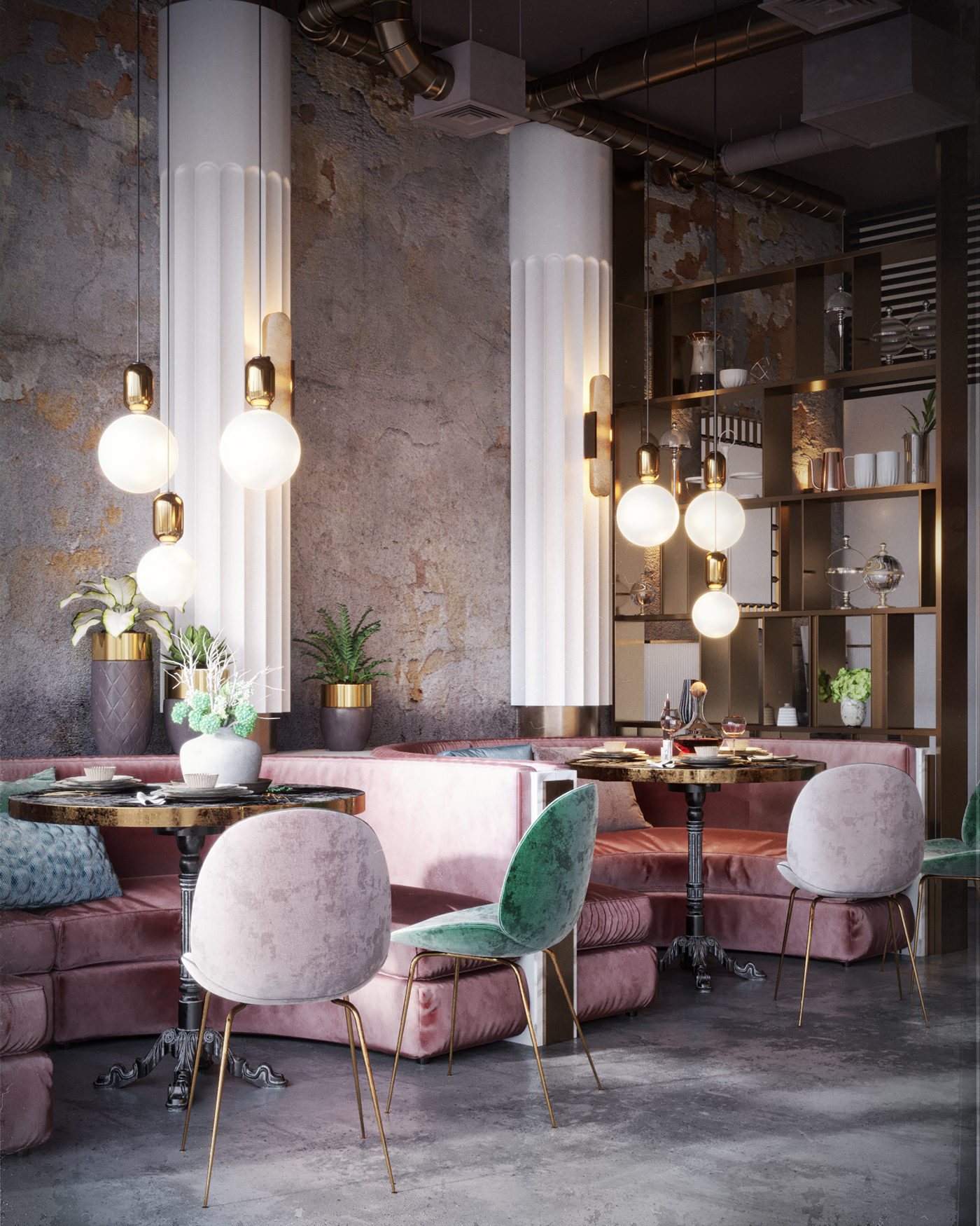 Pink Interiors - In Honor of Breast Cancer Awareness Month - Maxim Tsiabus restaurant №2 rendering - pink and green interiors - restaurant designs
