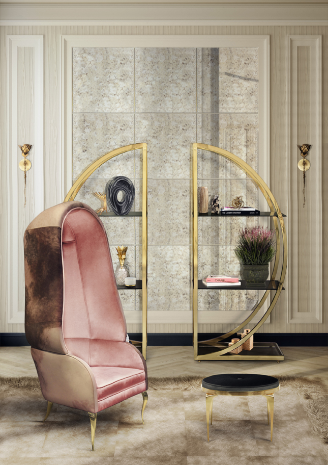 Pink Interiors - In Honor of Breast Cancer Awareness Month - Drapesse chair by KOKET - Decadence Bookcase by KOKET - Pink and gold rooms - interiors