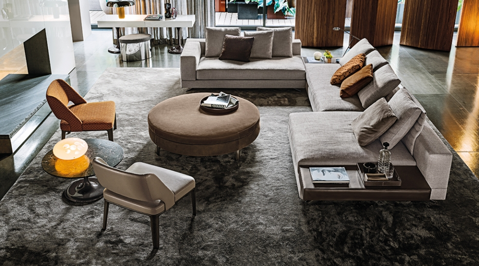 Top Design Stores Around Art Basel Miami Beach - art - minotti - miami beach - design stores - showrooms - gray living room - slate - warm living room