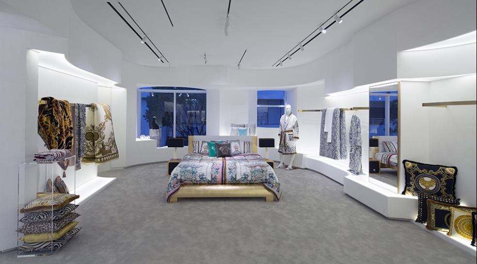 Top Design Stores Around Art Basel Miami Beach - art - versace - bedroom design - interiors - gold - white walls - teal - versace home