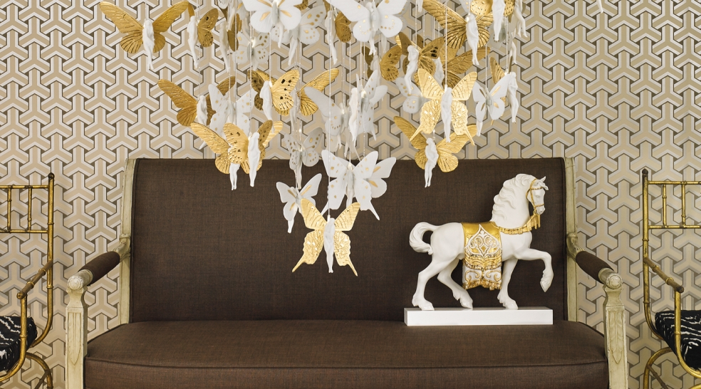 Top Design Stores Around Art Basel Miami Beach - lladro - gold - horse decor - chandelier - butterflies - brown interior design - sofa