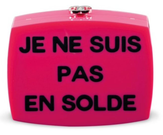 Designer Vintage - Christies Auction - A Fuchsia Lucite 'Je Ne Suis Pas en Solde' Clutch with Silver Hardware, Chanel, 2015 - pink chanel purse - vintage handbags - vintage purses - secondhand designer handbags - preowned designer handbags - chanel purse