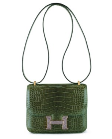 Designer Vintage - Christies Auction - A Limited Edition Shiny Vert Veronese Alligator Mini Constance Marquette 18 with Agate Lizard & Gold Hardware, Hermes, 2015 - hermes purse - hermes bag - hermes handbag - vintage handbags - vintage purses - preowned designer handbags - secondhand designer handbags - vintage handbags