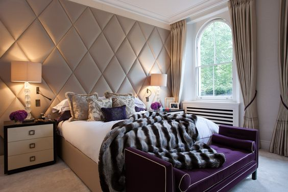 Ennismore Gardens Taylor Howes - Top Interior Designers - best interior designers in london - bedroom design ideas - bedroom interior design - upholstered beds - fur throws - upholstered walls