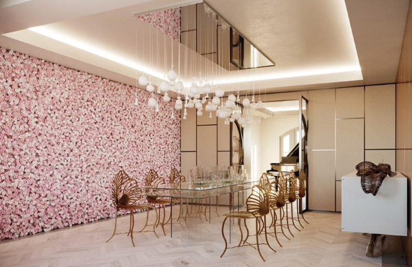 IGGI Interiors - Holiday House London Designer Showhouses Top Interior Designers - Dining room designs - pink and gold dining rooms - luxury furniture - chandelier dining room - wall of pink flowers - holiday house showhouse