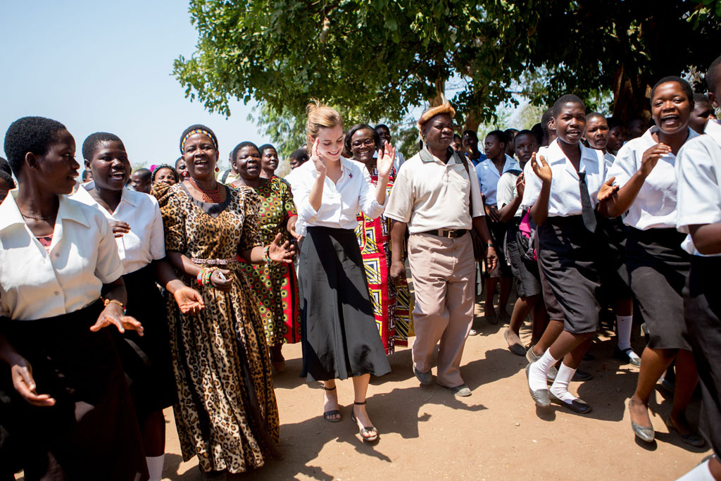 Women Empowering Women - Emma Watson - United Nations - Emma Watson and Senior Chief Inkosi Kachindamoto at Mtakataka Secondary School in the District of Dedza - child marriages annulled - UN Women Goodwill Ambassador