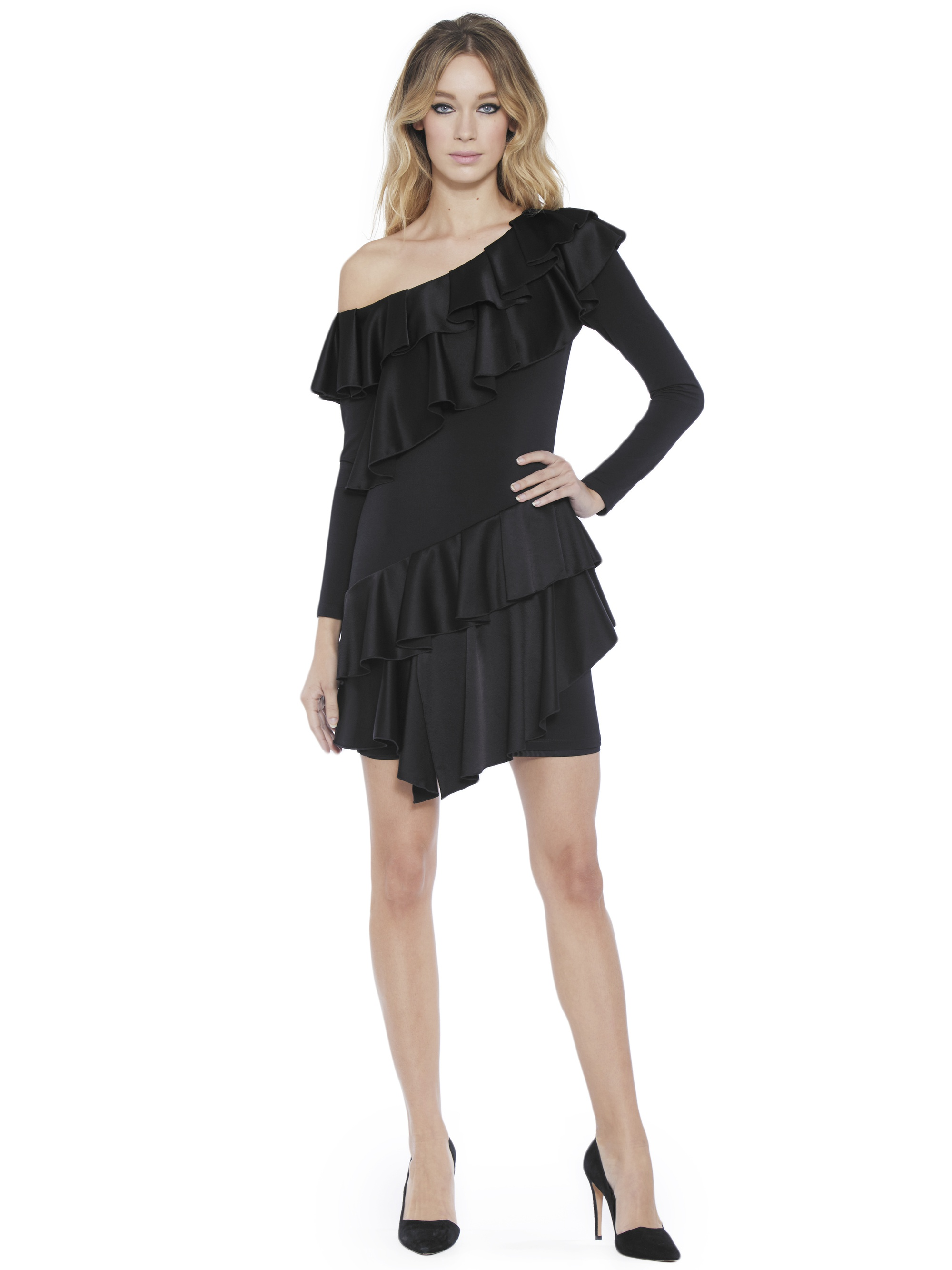3867038f6a7 Alice and Olivia Izzy One Shoulder Ruffle Dress Black - perfect little  black dress