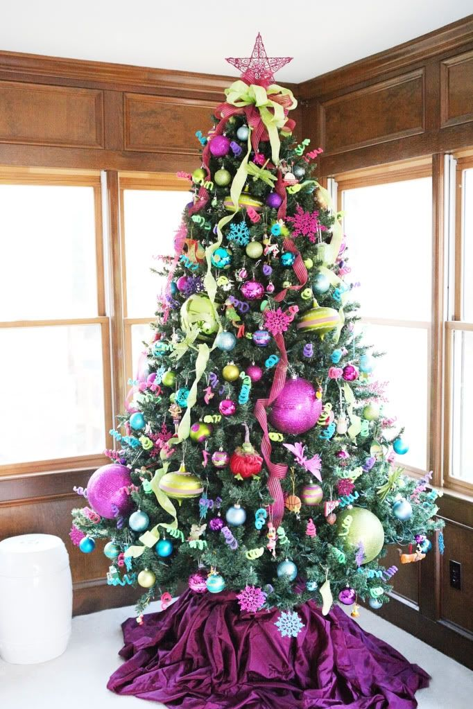 Bower Power - Colorful Chrismtas Tree decorations ideas - pink and green christmas tree decoration ideas
