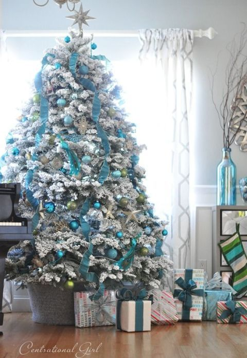 Centsational Girl - Blue and white christmas trees - silver and blue christmas tree decoration ideas - christmas trees with blue ribbons