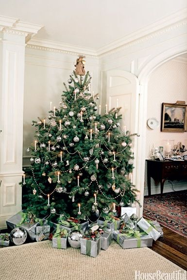Good Housekeeping - Christopher Baker - christmas tree decoration ideas - christmas trees with candles - white and silver christmas tree decoration ideas