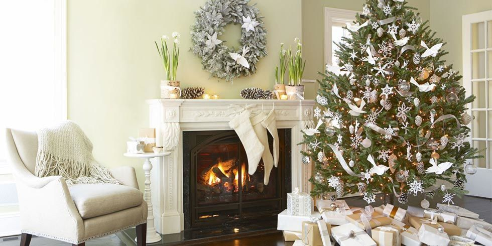 Good Housekeeping - Michael Partenio - white dove christmas tree decoration ideas - christmas decorating ideas - white and silver themed christmas tree decoration ideas