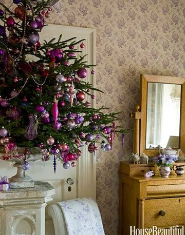 Small Christmas Trees - House Beautiful - decorating ideas for small christmas trees - pink christmas tree decoration ideas - barry dixon - pink and purple christmas tree decoration ideas
