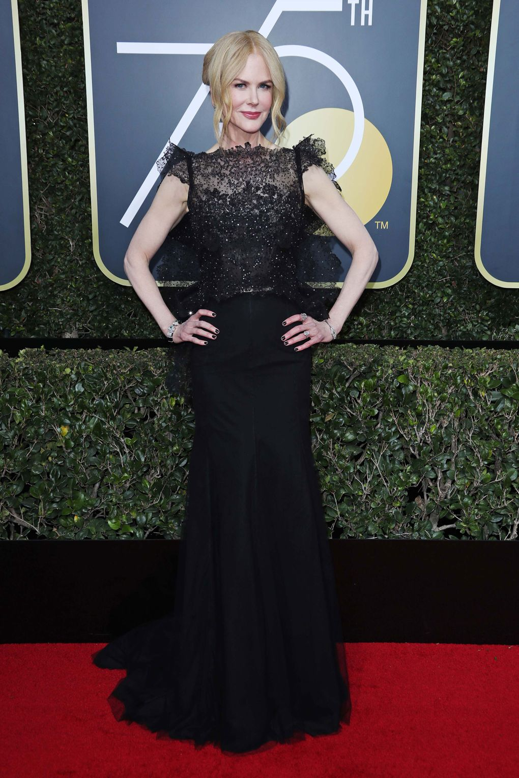 Red carpet 2018 - Nicole Kidman in Givenchy - Photo credit Rex/Shutterstock - black dresses at golden globes 2018 - times up - women empowerment