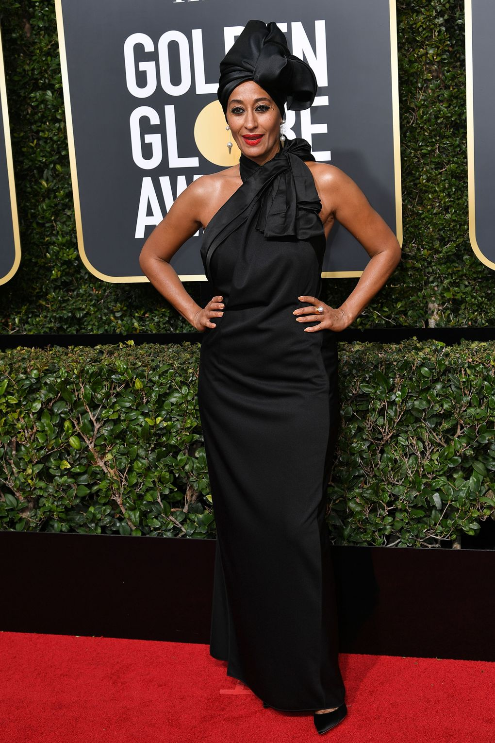 Golden Globes 2018 Red Carpet - Tracee Ellis Ross in Marc Jacobs - black dresses for times up - fight against sexual harassment - women empowerment - Photo credit Rex/Shutterstock