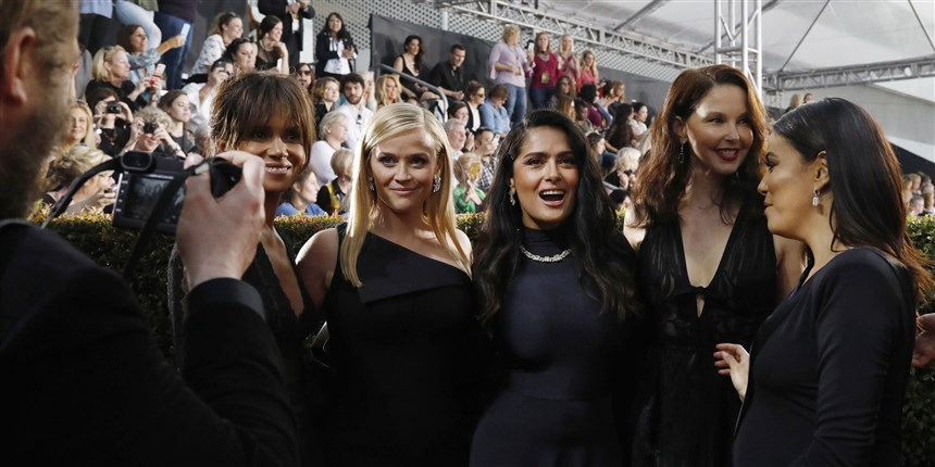 golden globes red carpet 2018 Actresses Halle Berry, Reese Witherspoon, Salma Hayek, Ashley Judd and Eva Longoria at the Golden Globes.Mario Anzuoni / Reuters - times up