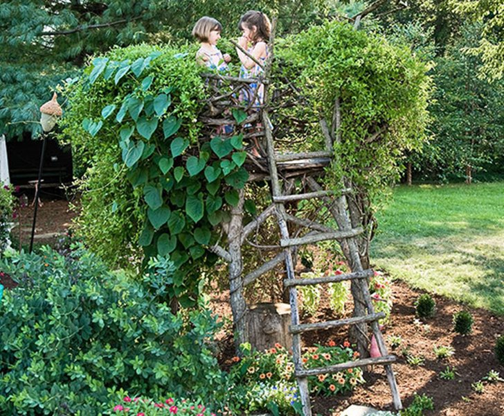 Outdoor decoration ideas - childrens garden fort - outdoor decorating ideas - photo via habitat.com - childrens garden birdnest - magical childrens forts