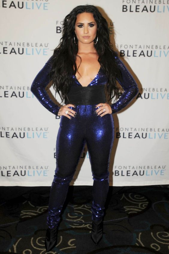 Demi Lovato New Years Eve Outfit - celebrity new years eve outfits - demi lovato jumpsuit - new years eve 2017 Miami Beach Fontainebleau