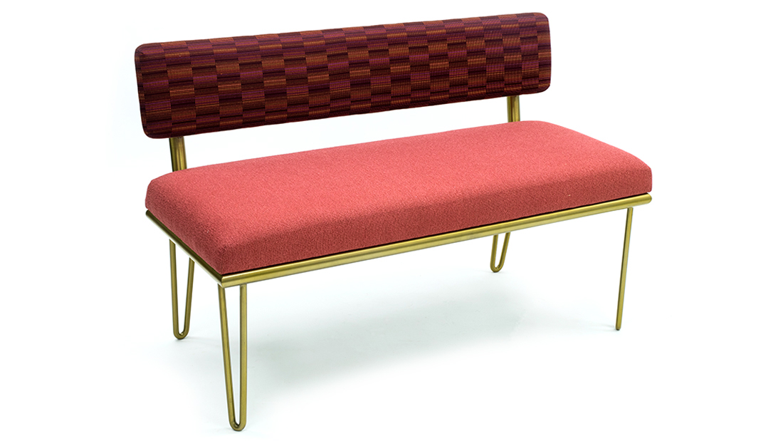 SGNY - Calabasas bench - upholstered bench with back - bench with metal legs - upholstery fabrics