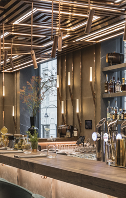 Ai Restaurant Design - Gatserelia Design - Vienna restaurants - top interior designers beirut - top restaurant designers - ad100 designers - unique bar stools - upholstered bar stools - bespoke lighting - custom sconces