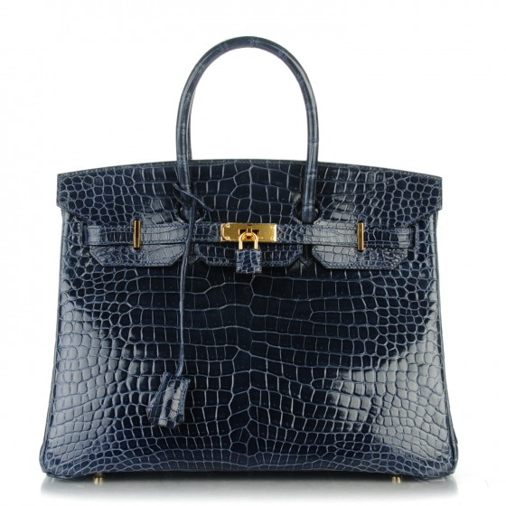 Valentines Day Gift Ideas - Hermes Shiny Porosus Crocodile Birkin Bleu Indigo - Fashionphile - vintage birkin bags - luxury gifts for her