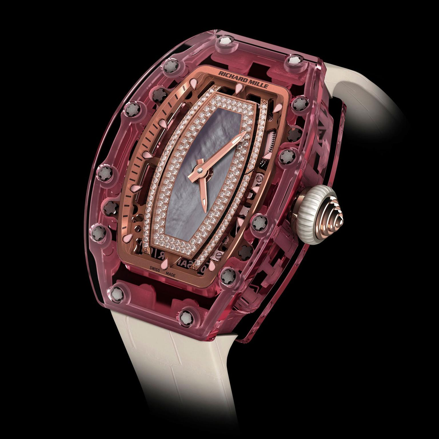 Valentine's Day Gift Ideas - Richard Mille rm-07-02 Pink Lady Sapphire Watch - gift ideas for women - luxury gifts for her - pink watches - luxury womens watches